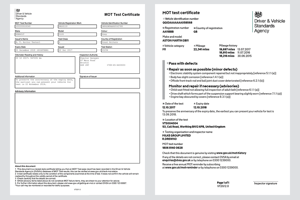The Old MOT certificate and the new MOT certificate