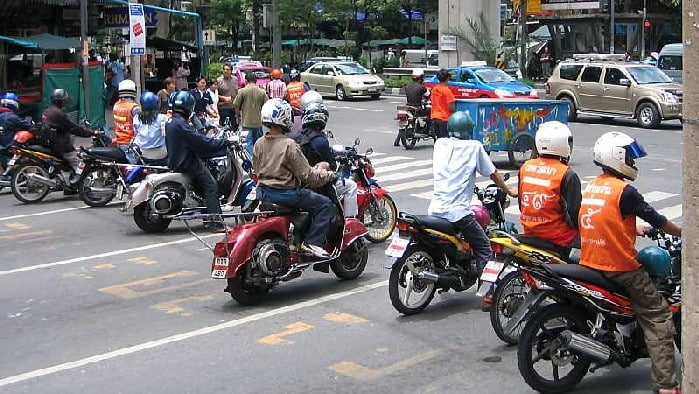 Group of motorbikes on Bangkok road