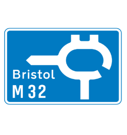 Motorway junction road sign