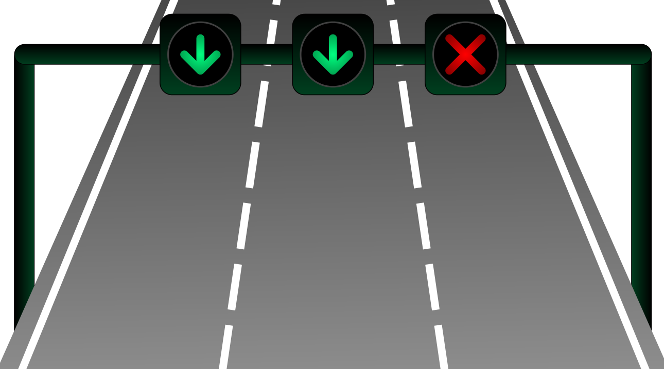 Cartoon of motorway with two lanes open and one closed.