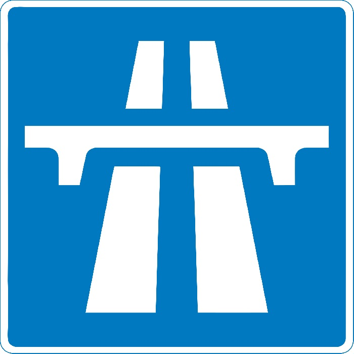 Traffic sign for motorway