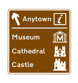 Multiple tourist attractions road sign