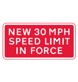 New speed limit road sign