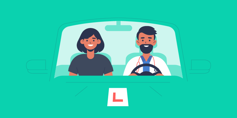 NHS worker on a driving lesson