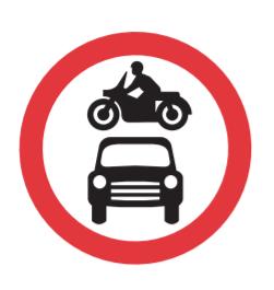 No motor vehicles road sign