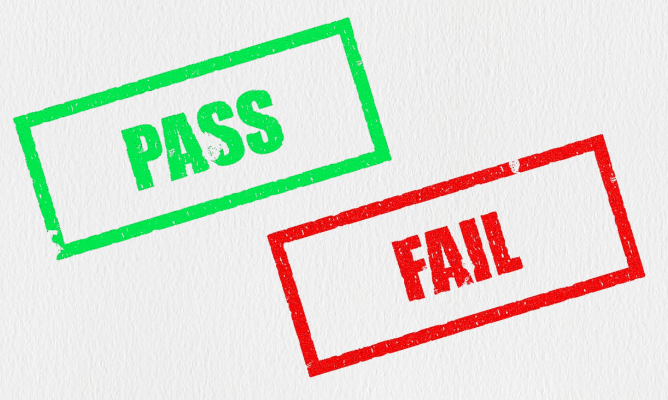 Pass and fail stamps on paper