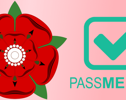 PassMeFast logo with Lancashire red rose