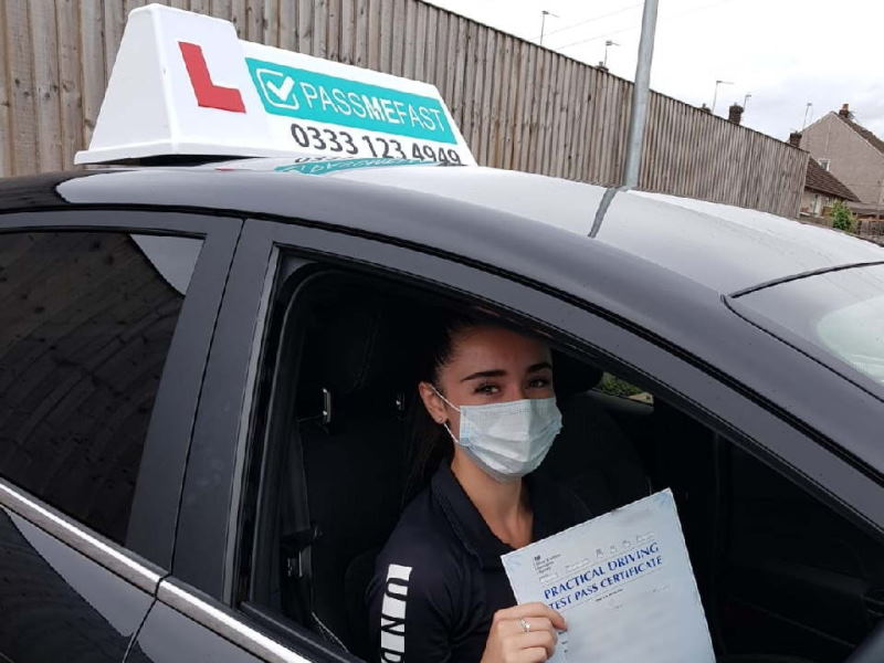 PassMeFast student taking a driving test wearing a face mask