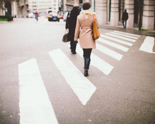 Pedestrians crossing the road—a driving hazard