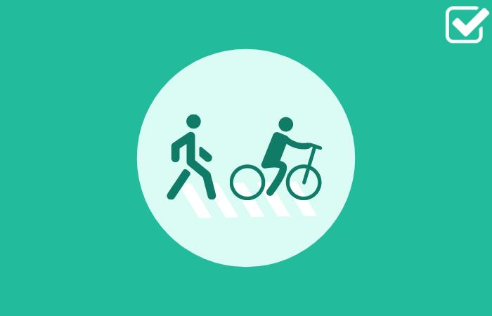 Cartoon cyclist and pedestrian