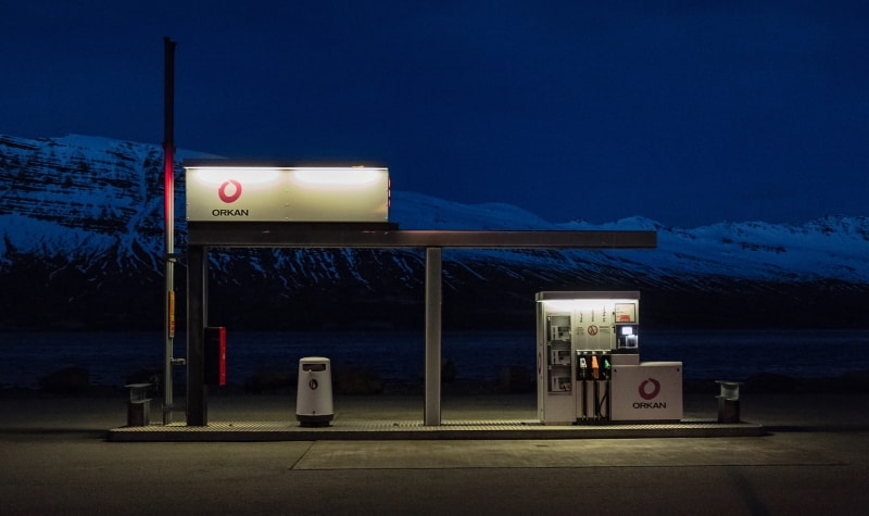 Petrol station at night in Neskaupstaður, Iceland