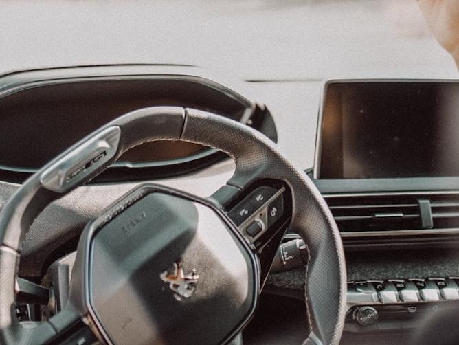 A Peugeot steering wheel