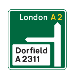 Primary route and non primary route road sign