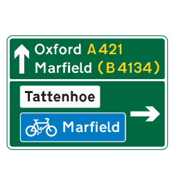 Primary route cyclist route road sign