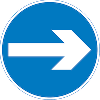 Proceed right only traffic sign