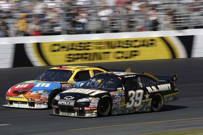 Racing cars overtaking