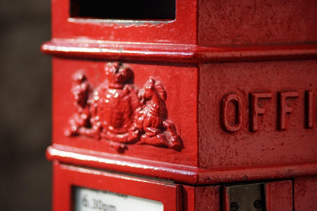 Close up of red UK postbox