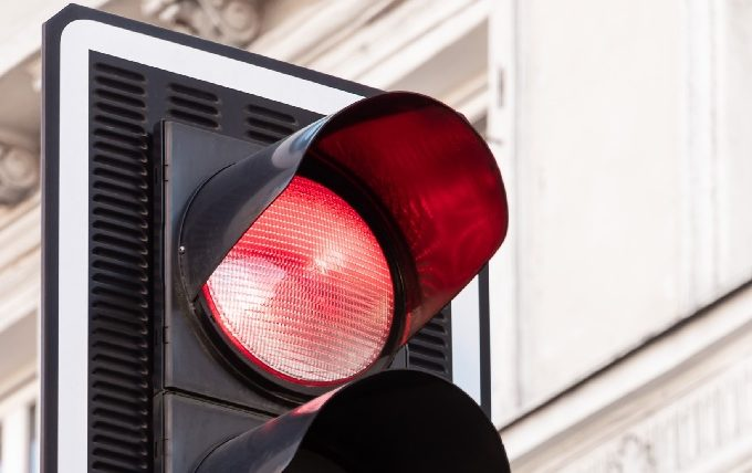 Close up of red traffic light