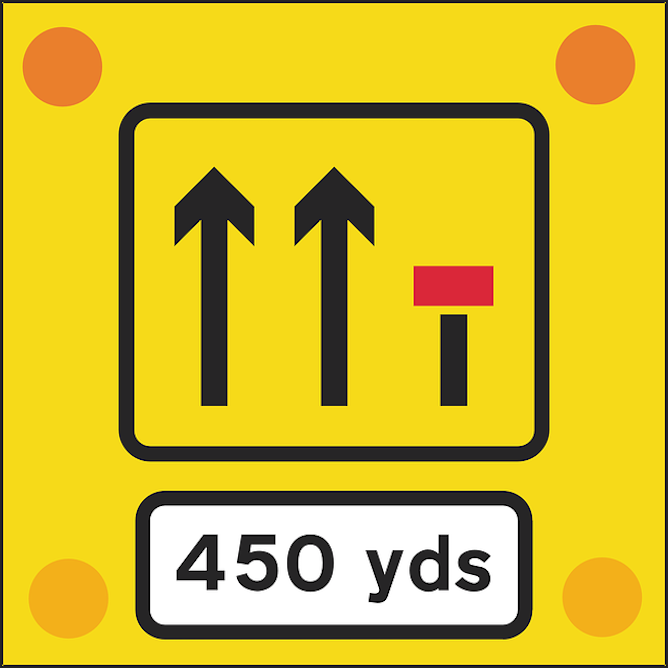 Traffic sign indicating end of right lane in 450 yards