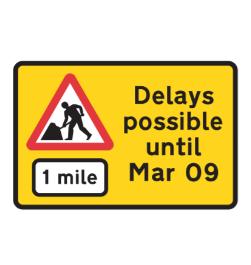 Road works delays road sign