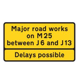 Road works on motorway road sign
