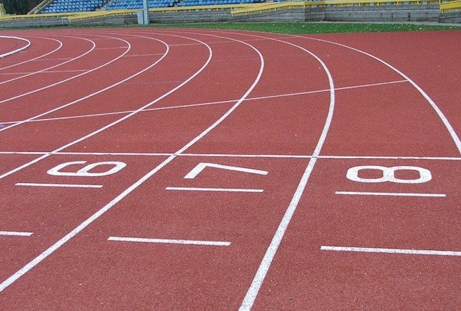 A running track with lanes 6, 7 and 8