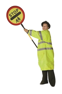 A lollipop person holding her sign at 45 degrees