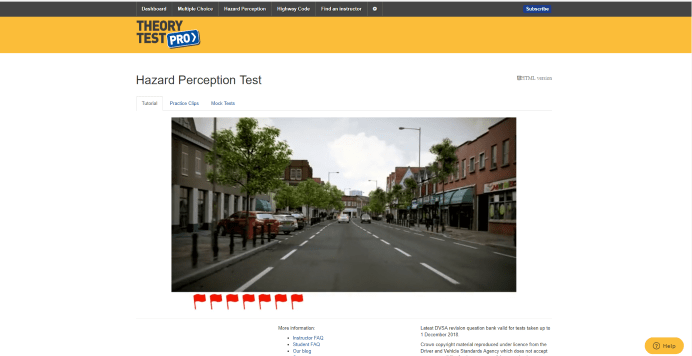 Screenshot Theory Test Pro hazard perception