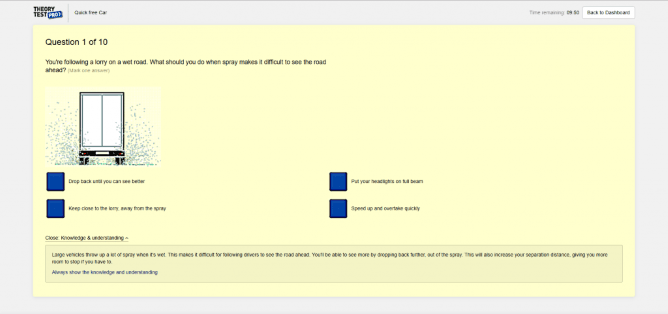 Screenshot of Theory Test Pro's practice questions