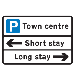 Short and long stay parking road sign
