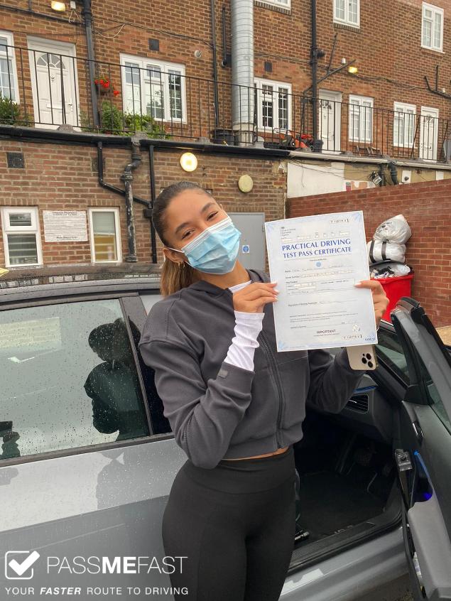 Sian Lilly Garnett with her driving test pass certificate