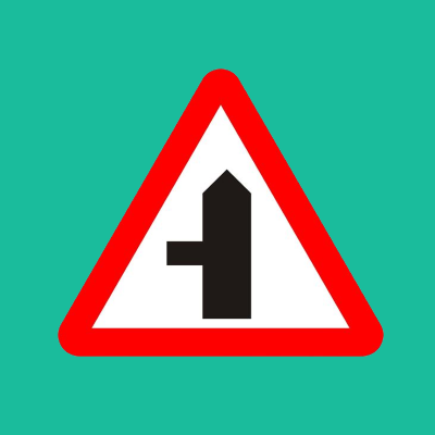 Left side road ahead road sign