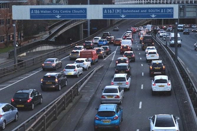 Slip road traffic merging onto a dual carriageway