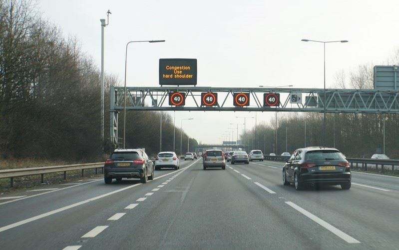 Smart motorway with hard shoulder open