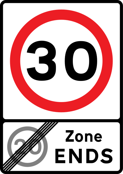 Speed limit changing from 30 to 20 sign.