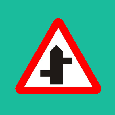 Staggered junction ahead road sign