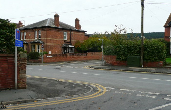 Empty staggered junction in Herefordshire