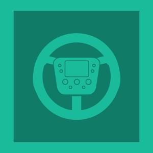 Cartoon of car steering wheel