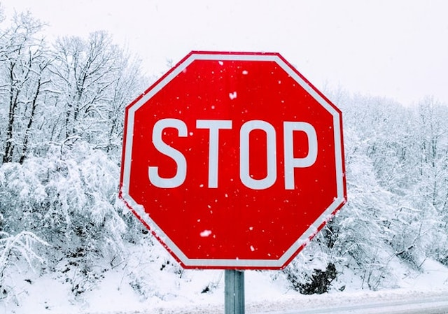 Stop sign in the snow
