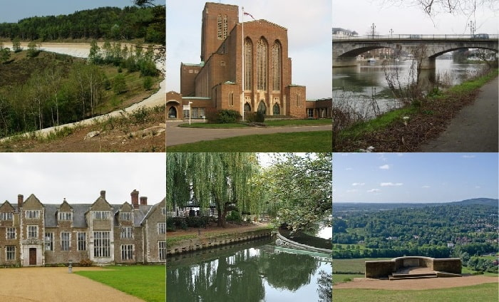 Collage of landmarks in Surrey