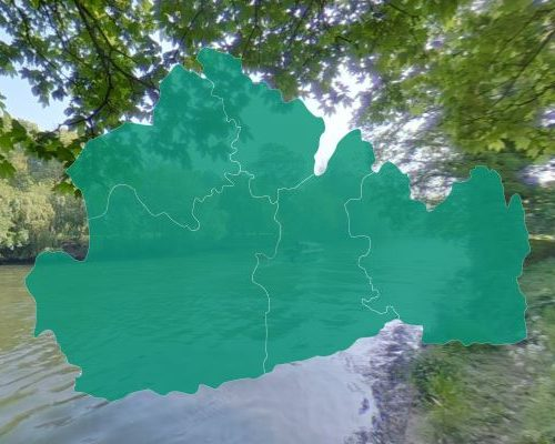 Surrey map on photo background of the Thames