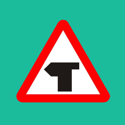 T-junction ahead road sign