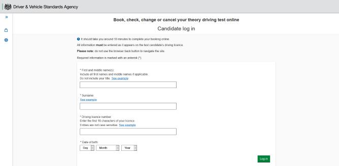 Screenshot of DVSA theory test booking portal