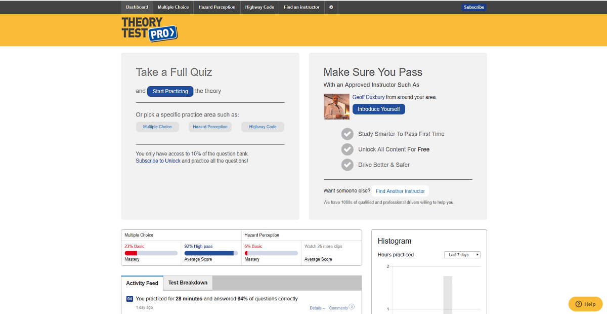 Theory Test Pro start page