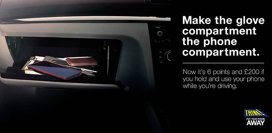 Think! safety campaign 'make the glove compartment the phone compartment'