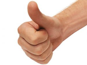 Hand doing a thumbs up sign