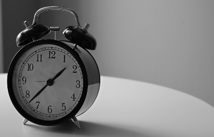 Traditional alarm clock black and white