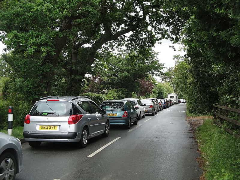 long queue of traffic during the Isle of Wight festival