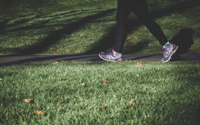 Person wearing trainers walking on path with grass either side