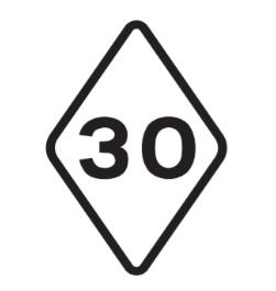 Tram speed limit road sign